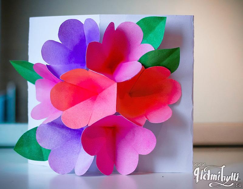 kukkakimppukortti-äitienpäiväkortti